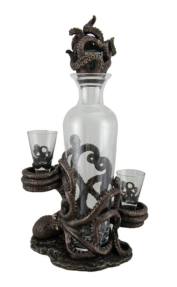 Resin And Glass Liquor Decanters Octopus Spirit Decorative Antique Bronze Finish Statue And Glass Decanter Set 8.5 X 15.5 X 5.25 Inches Bronze Model # WU76986Y4 by Zeckos (Image #3)
