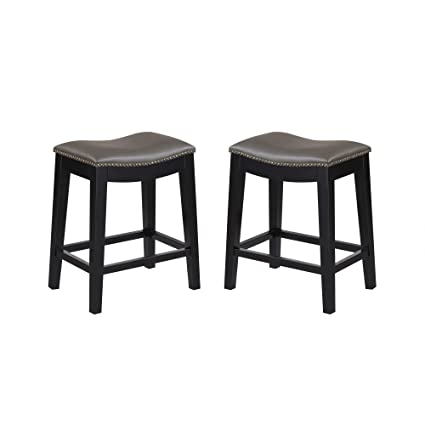 Excellent Livingston 24 Bar Stool In Anchor Gray With Faux Leather Saddle Seat And Nailhead Trim Set Of Two By Artum Hill Uwap Interior Chair Design Uwaporg