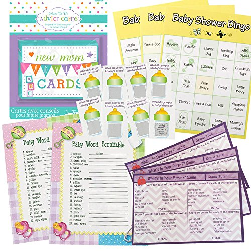 Baby Shower Games Set for 24 - Baby Shower Bingo, Whats in Your Purse Game, Word Scramble, Scratch Tickets and New Mommy Advice (Adult Baby Shower Games)