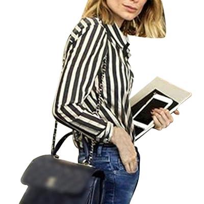 Aurorax Women's Casual Striped Loose Long SleeveT-Shirt Blouse Top