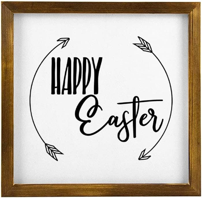 None Brand Happy Easter with Arrows Hanging Wood Sign with Frame Decor for Garden,Quote Saying Rustic Wood Wall Sign,Personalized Text Funny Wooden Farmhouse Quotes Label l4djrks4746r