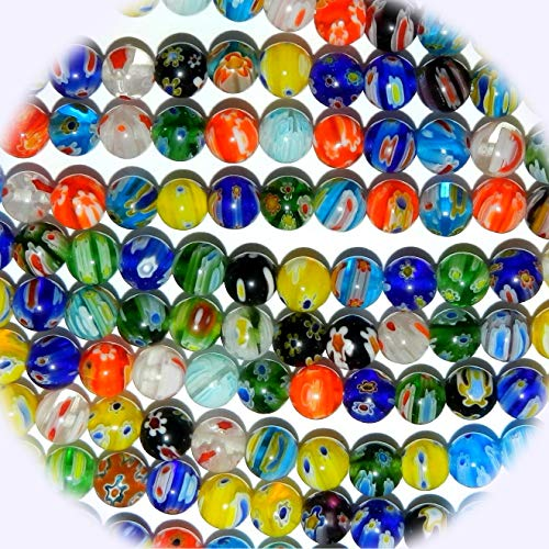 New Multi-Color Flower 8mm Round Millefiori Lampwork Glass Mix Jewelry-Making Beads 14-inch DIY Craft Supplies for Handmade Bracelet Necklace