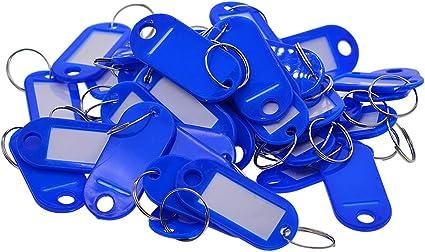 P PRETTYIA Confezione da 50 Portachiavi Targhette Per Chiavi in Codice Colore blu