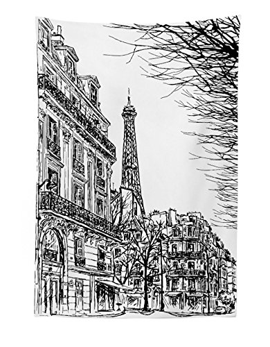Lunarable Paris Tapestry, Sketch Parisian Street with Trees and Eiffel Famous City Scenery Architectural Print, Fabric Wall Hanging Decor for Bedroom Living Room Dorm, 30 W X 45 L inches, Black White ()