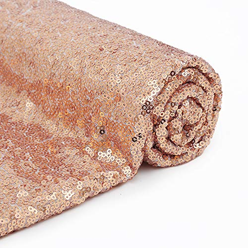 12 Feet 4 Yards Rose Gold Sequin Fabric by The 4 Yards Sequin Fabric Tablecloth Linen Xmas Decor Material for Sequin Dress from PartyDelight