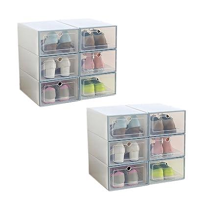Abimars Caja de Almacenamiento de Zapatos Rack apilable Zapatero Plegable con Clear Puerta para Hombres y