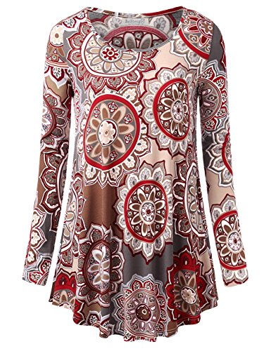 BaiShengGT Women's Round Neck Printed Loose Fit Casual Blouse Top Tunic Shirt Grey #2 (Floral Flare)