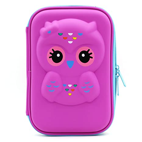 a3dfa43381c21 JUJIN Cute Owl Face Hardtop EVA Pencil Case Big Pencil Box with Compartment  for Kids (Purple)