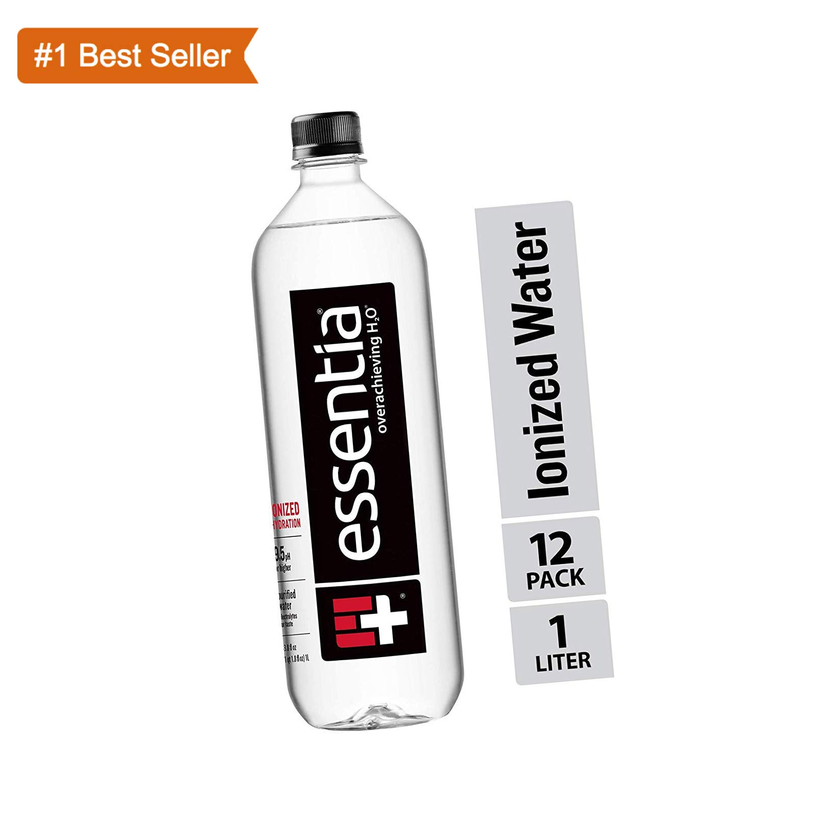 Essentia Water; 33.8-oz. Bottles; Case of 12; Ionized Alkaline Bottled Water; Electrolyte Infused for Smooth Taste; pH 9.5 or Higher