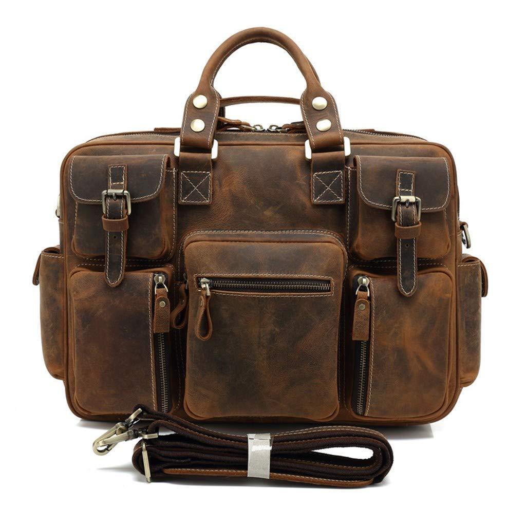 ハンドバッグ、ハンドバッグ、ハンドバッグ、メンズラゲッジ、ブリーフケース、レザーバッグ。 ダークブラウン 14インチ B07HQQ8VX1