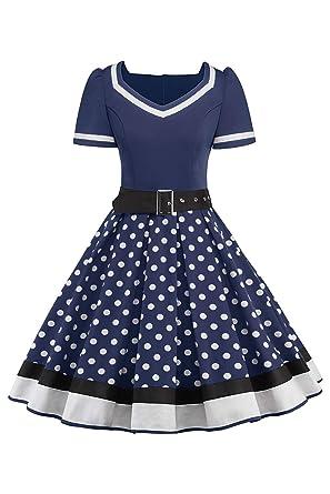 e52e895337473b Misshow Swing Kleid Sommer Polka Dots Mädchen Kleider Tellerrock Damen,  Navy - S