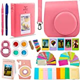 DNO Fujifilm Instax Mini 9 Accessories (11 Piece Kit) - Protective Case, Hanging Frames, Filters & Selfie Lens, Photo Album, Film Decor Stickers & More - Flamingo Pink
