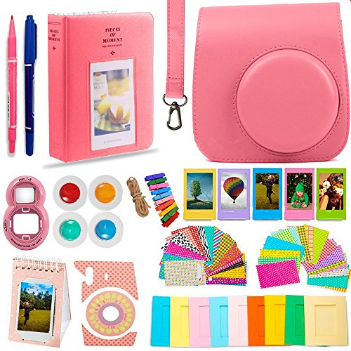DNO Fujifilm Instax Mini 9 Accessories (11 Piece Kit) – Protective Case, Hanging Frames, Filters & Selfie Lens, Photo Album, Film Decor Stickers & More – Flamingo Pink