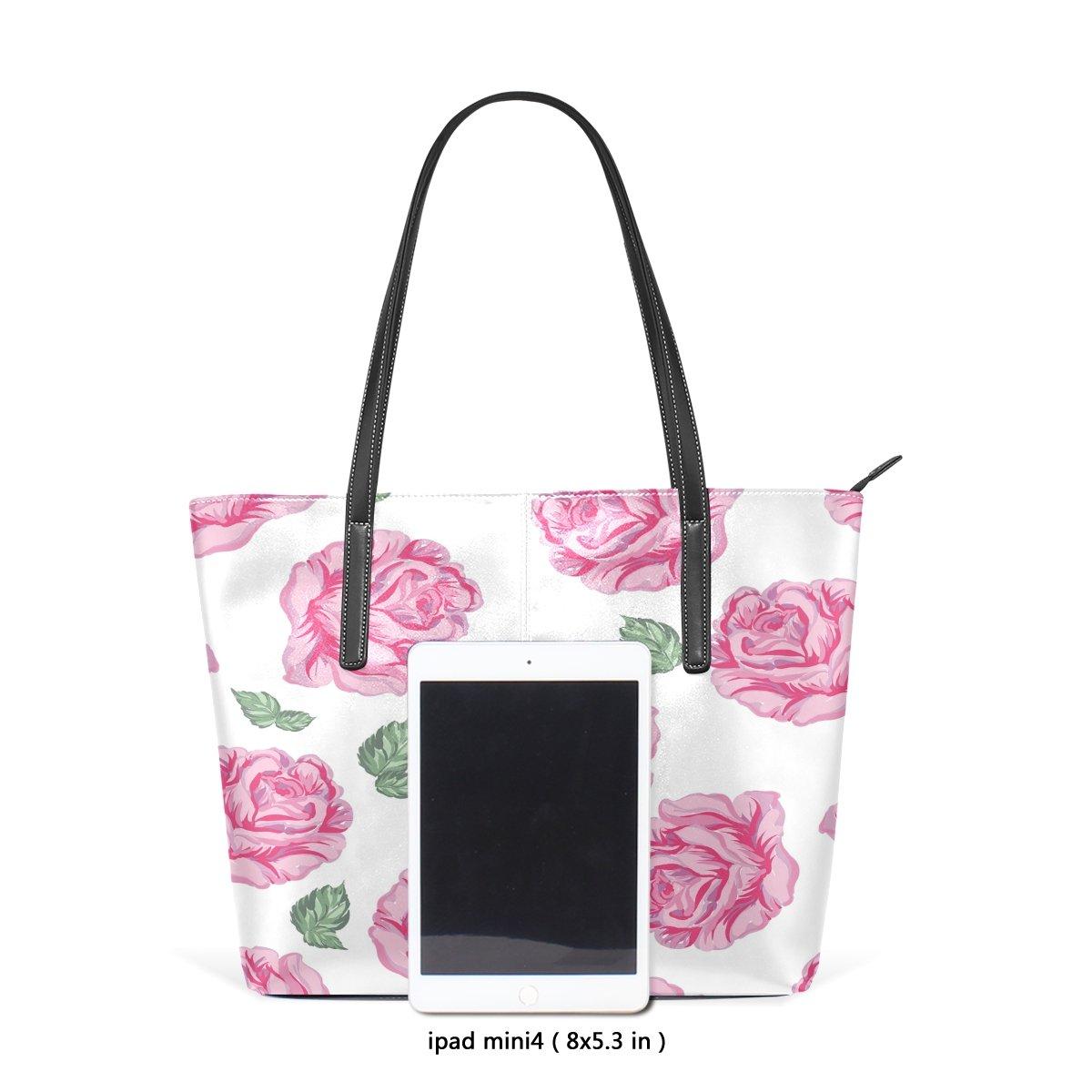 Womens Leather Top Handle Shoulder Handbag Pink Flowers Large Work Tote Bag
