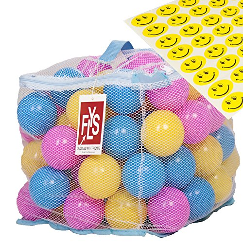 Flyspro 100 Phthalate BPA Free Crush Proof Plastic Balls, Variety of Colors, With A Zipper Bag. FREE BONUS: 48 Fun Smiley Stickers for Children to Enjoy By