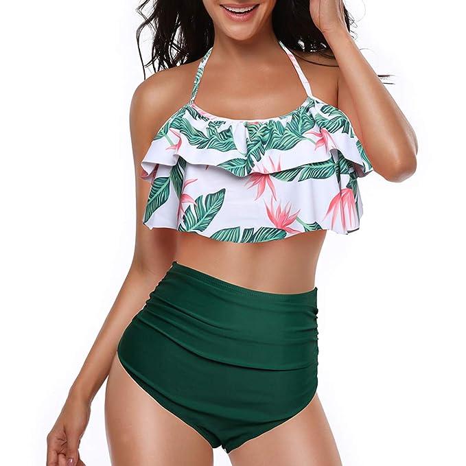 8a31fc79f08f7 Amazon.com: Century Star Retro Print Halter Bikini Ruffled Flounce High  Waist Swimwear Two Piece Swimsuit for Women: Clothing
