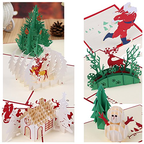 Christmas Stationery Cards (3D Christmas Greeting Cards Papercraft 7 Pack Holiday Pop Up Cards Gift)