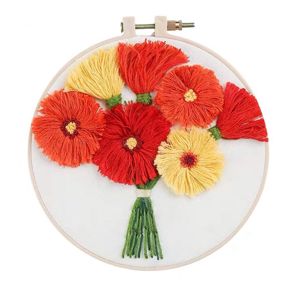 Color Threads and Tool Kit Full Range of Embroidery Starter Kit with Pattern Hanging Plants Kissbuty Cross Stitch Kit Including Stamped Embroidery Cloth with Pattern Bamboo Embroidery Hoop