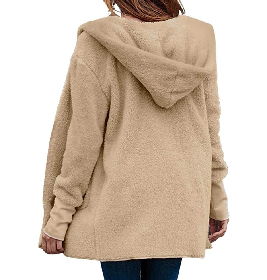 YUNY Women Cardigans Hooded Coat Faux Shearling Outwear Outercoat Khaki L