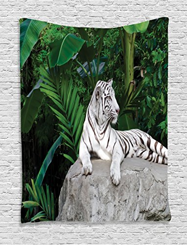 Ambesonne Safari Decor Tapestry, White Tiger Setting On Stone Tropic Plants Leaves Jungle Majestic Creature Wildlife, Bedroom Living Room Dorm Decor, 40 W x 60 L inches