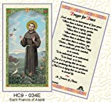 Saint Francis of Assisi-Prayer for Peace.Laminated 2-Sided Holy Card (3 Cards per Order)
