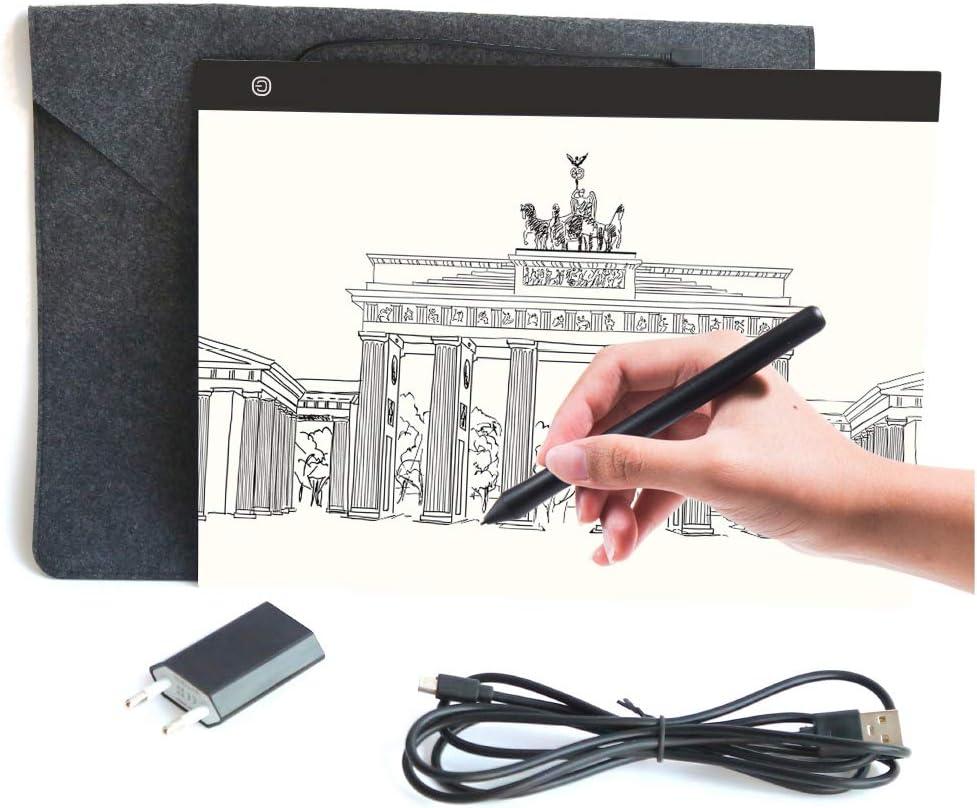 Magnetisch LED leuchttisch A3 Licht Pad einstellbare Helligkeit Lichtkasten Copy Board mit USB Kable Ideal f/ür Designen Kopieren Zeichnen Skizzieren Animation Energieklasse A+