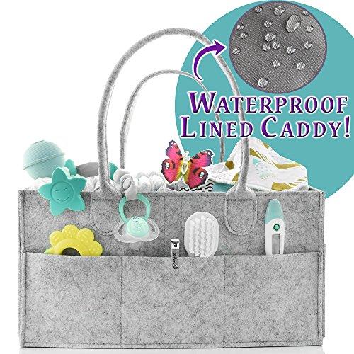 Caddie Valuables - Baby Portable Diaper Caddy Organizer | Organization Bin | Holiday Gift Idea | Diaper Changing Table Organizer | Nursery Storage Caddy | Car Trunk Organizer | Cloth Storage Bin | H2O-PROOF LINER | SALE
