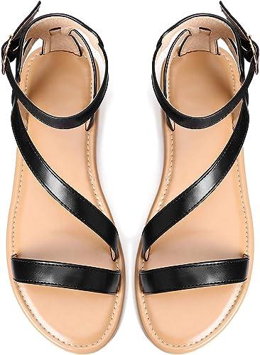 Camfosy Sandales Femmes Plates Cuir, Nu Pieds Chaussures Été
