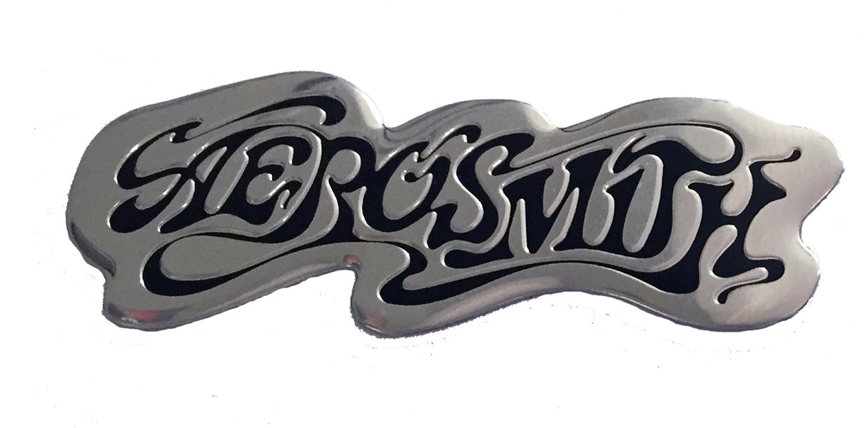 Aerosmith Logo on Silver STICKER, Original Licensed Symbol on Embossed METAL STICKER - Medium 2.375' Inches Original Licensed Symbol on Embossed METAL STICKER - Medium 2.375 Inches Officially Licensed & Trademarked Products S-7771-M