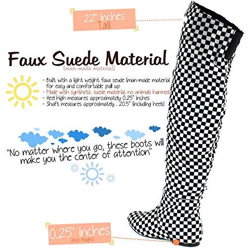 DailyShoes Damenmode-Hi Over-the-Knee Oberschenkel Hohe flache Slouchly Welle Low Heel Stiefel Klassisches Plaid Schwarz Weiß