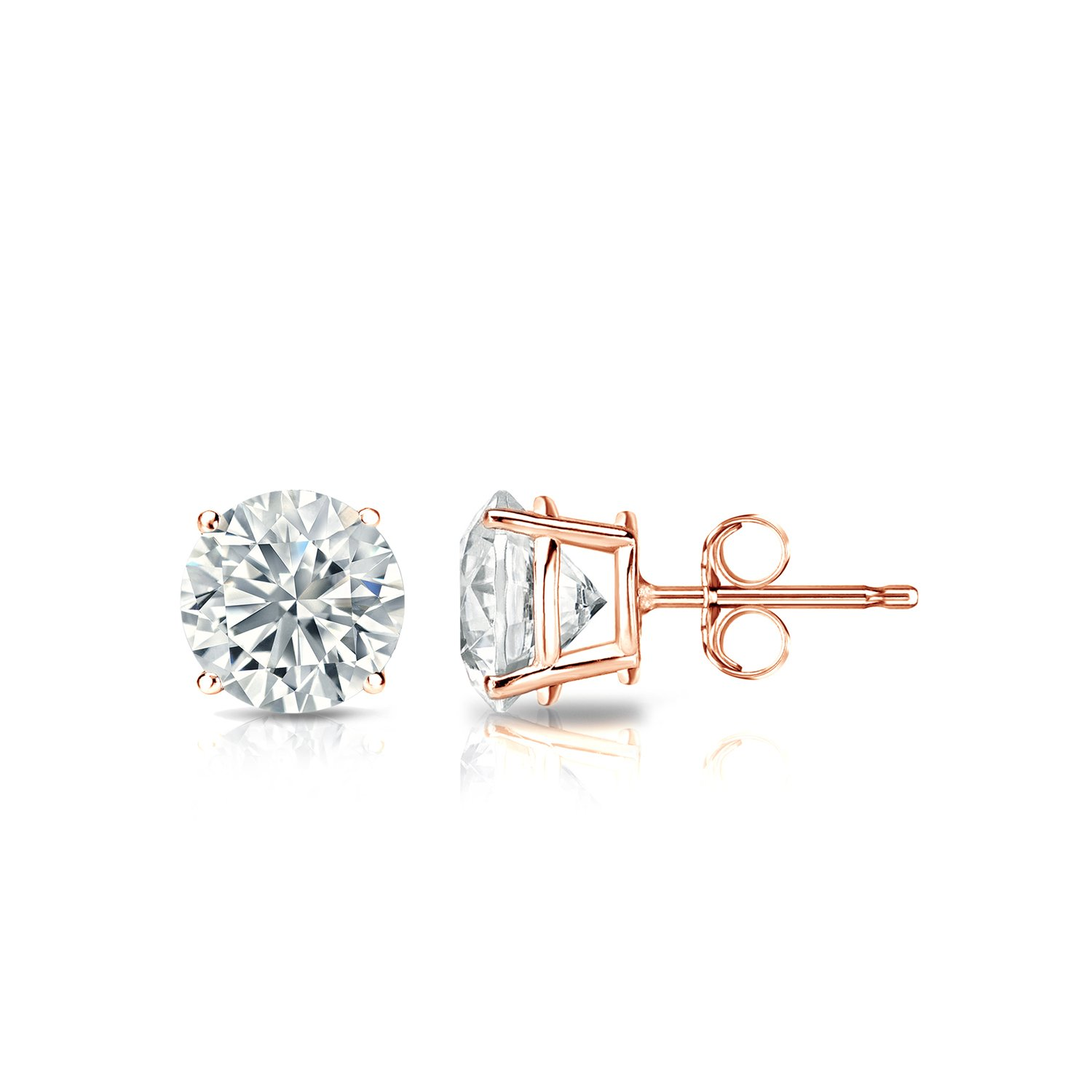 carat gold earrings s diamond p stud of ebay prong picture white
