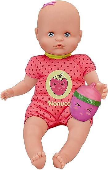 Nenuco- Bambola con Biberon e Vestito, Colore Fragola, 700012087