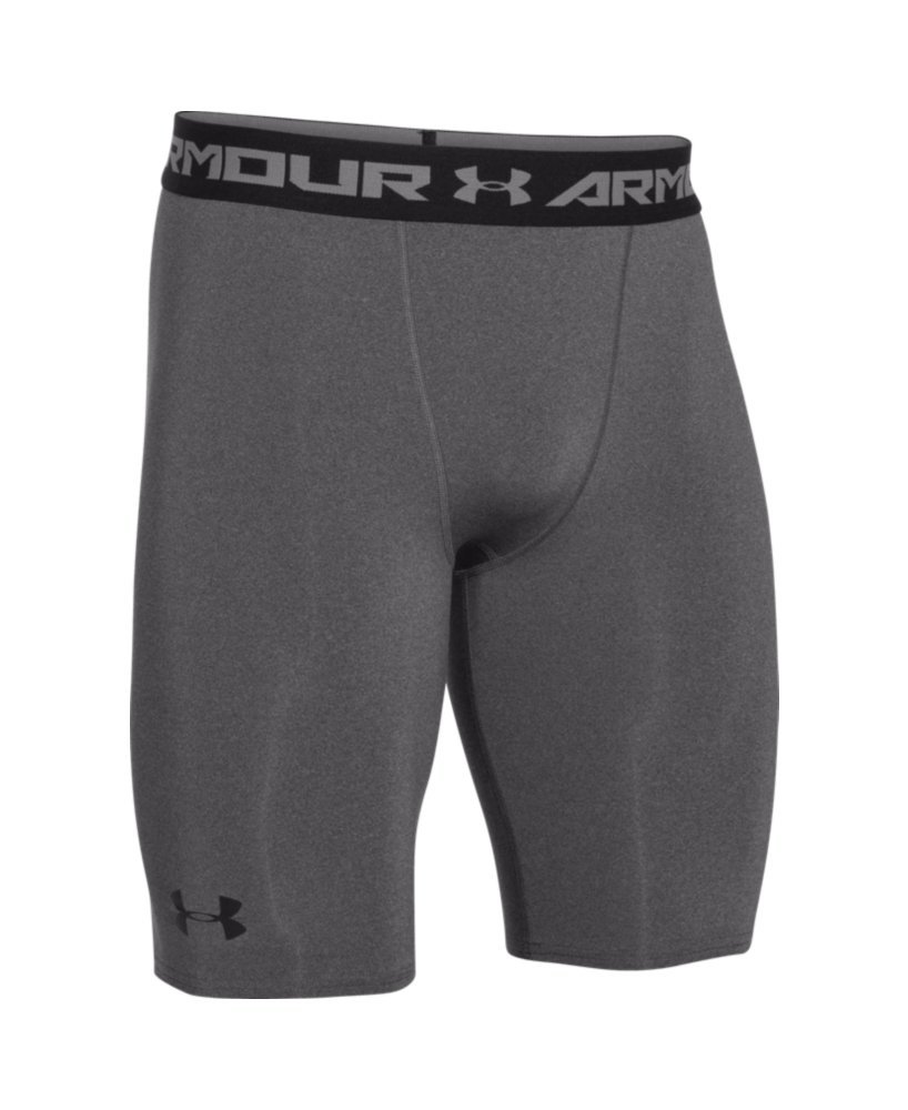 Under Armour Men's HeatGear Armour Compression Shorts – Long, Carbon Heather (090)/Black, Small by Under Armour (Image #4)