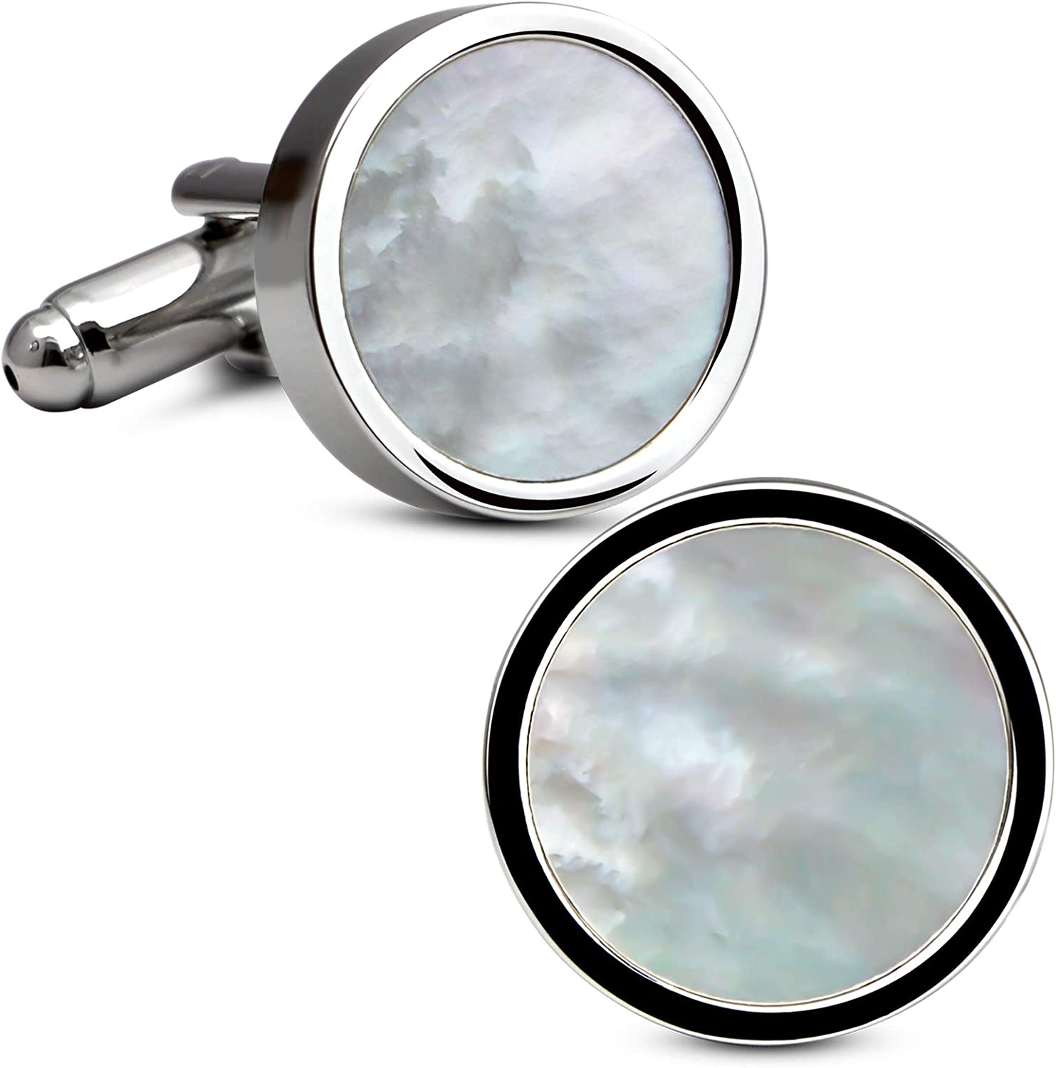Amazon.com: VIILOCK White Gold Plating Cufflinks for Men Mother of Pearl Mens  Cuff Links Wedding: Jewelry