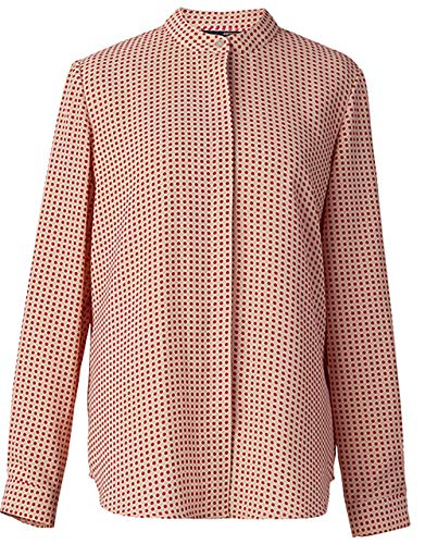 ROEYSHOUSE Women's Polka Dot Long Sleeve Chiffon Blouse Buttoned Down Work Shirt with Mandarin Collar L Red