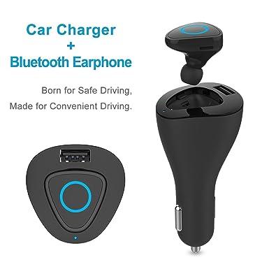 Auriculares Bluetooth adaptador de coche cargador de coche cargador de coche qirg USB con auriculares inalámbricos