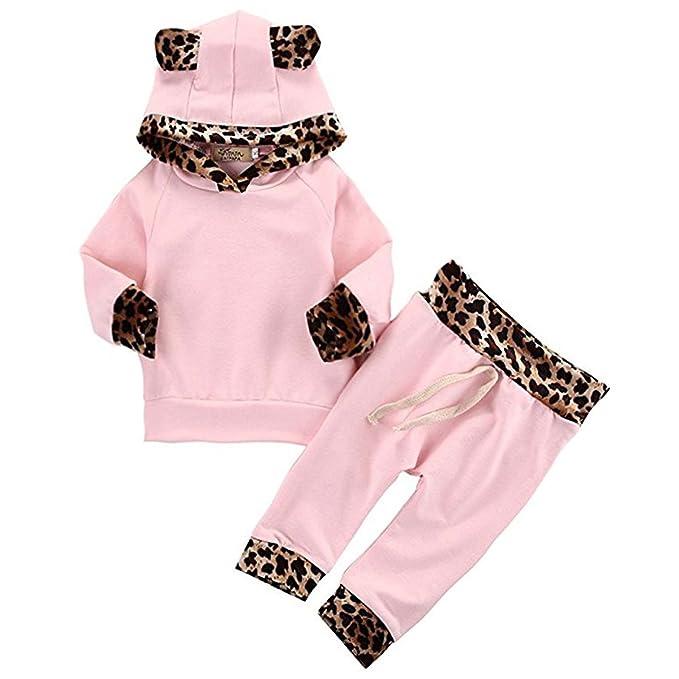 3360be380 Amazon.com  2Pcs Cute Newborn Baby Girls Pink Leopard Hoodie T-Shirt ...