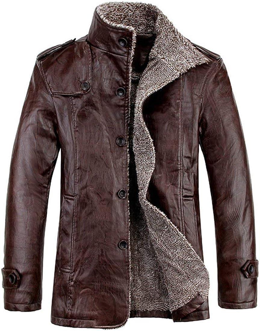 Manteau en Cuir d'hiver pour Homme Molleton Manteau À en