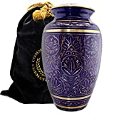 Purple & Gold Regal Radiance Burial or Funeral Adult Cremation Urn for Human Ashes - Large