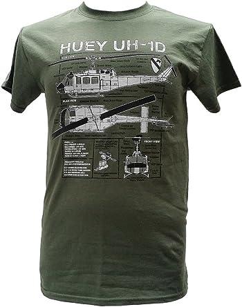 Camiseta militar con diseño azul, helicóptero Huey UH-1D Verde ...