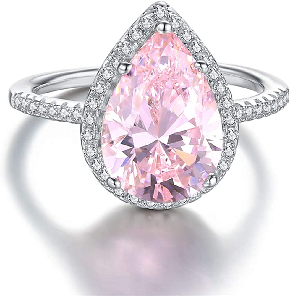CZ ring Oval cut pink stone ring sterling silver ring for women