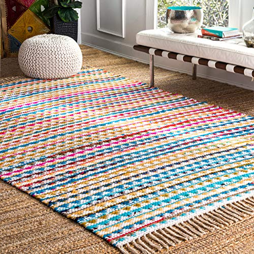 nuLOOM Bohemian Geometric Rainbow Striped Triangles Mosaic Area Rugs, 4' x 6', Multicolor