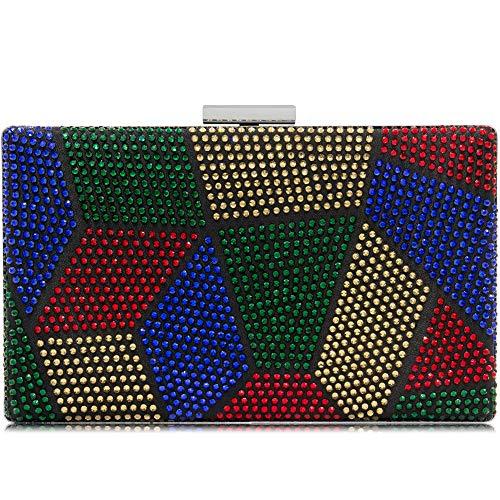 Yekajlin Clutches Bag for Women, Crystal Sparkly Evening Clutch Bag Rhinestone Glitter Clutch Purse (M)