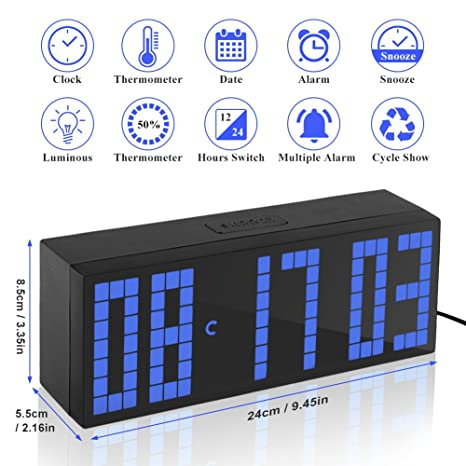 Yosoo Alarma Big Time Relojes LED Digital / Cuenta atrás / adelante Reloj con el controlador remoto (azul): Amazon.es: Hogar