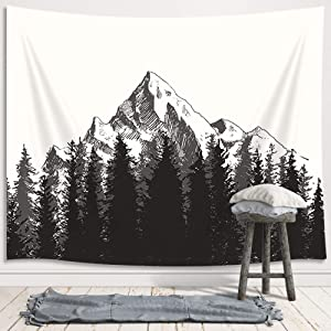 DYNH Primitive Tapestry Wall Hanging, Fall Fir Forest Autumn Mountains Natural Premium Home Art Wall Decor, Upgrade Tapestries for Bedroom Living Room College Dorm 71X60 Inches