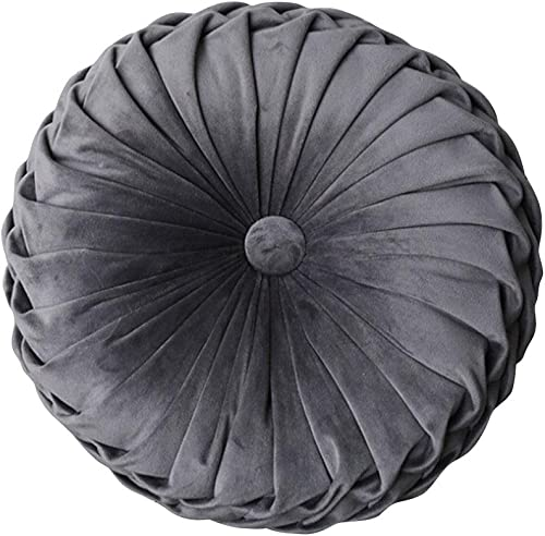 Jumpplay Round Filled Cushion Velvet Cushions Pleated Round Pillow Scatter Cushion Home Decorative for Home Sofa Chair Bed Car Decor