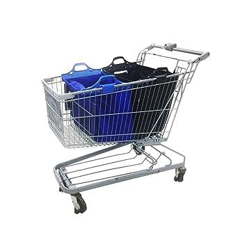 Bolsa de la compra reutilizable de Vaiigo, grande y muy resistente para los carritos del supermercado (paquete de 2) blue/black: Amazon.es: Hogar