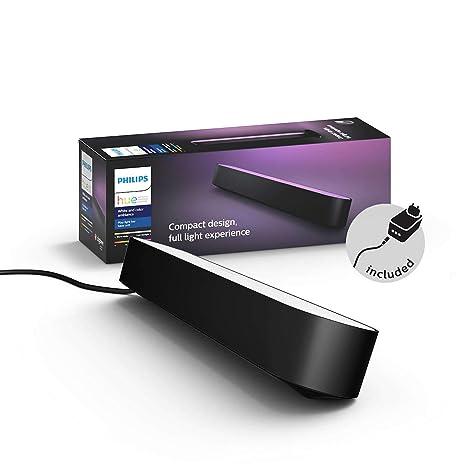 Philips Hue Play Barra de luz regulable compatible con Amazon Alexa, Apple HomeKit y Google Home, luz blanca y de colores, requiere conexión a puente ...
