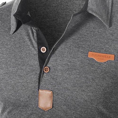 Cotone Tumblr Corta Manica Particolari Uomo FitCamicia Lettera Stretch Corte Slim Homebaby® shirt Magliette T Maglione T Estiva Grigio Vintage Elegante Maglietta Shirt wPk8n0O