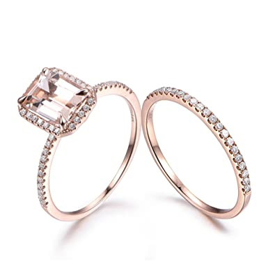 Amazon.com: MYRAYGEM-wedding ring sets Emerald Cut Natural Pink ...